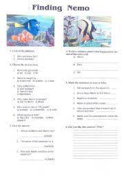 english worksheet finding nemo film activity english english worksheet video activity finding nemo