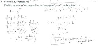Finding Tangent Line For A Graph With The Natural Log