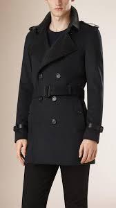 navy trenchcoats burberry lambskin detail virgin wool cashmere trench coat