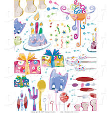 Vector Clipart of a Digital Collage of Birthday Party Doodle Items on White