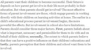 parent involvement in children s education in relation to  latest