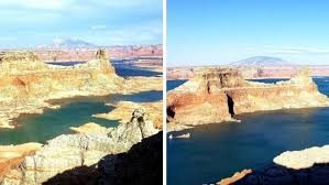 Lake Powell Water Level Chart 51 Foot Difference In Water Level At Lake Powell From