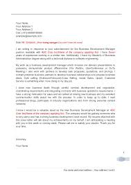 Business Development Cover Letters Cover Letter For Business Development Professionals