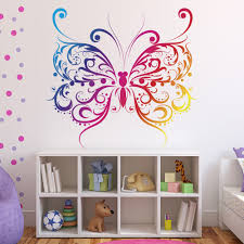 rainbow erfly wall sticker pink purple wall decal girls bedroom home decor