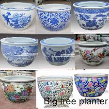 Good Large Chinese Hand Painted Lotus Ceramic Fish Planter Indoor Decorative Plant  Pots Planters