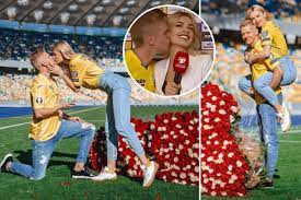 Zinchenko proposes to stunning girlfriend in stadium hours after kissing  her live on TV following Ukraine's Euros spot