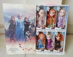 Combo búp bê Nữ hoàng Băng giá Frozen gồm 6 búp bê công chúa Elsa và Anna  kèm hộp mở nắp cao cấp