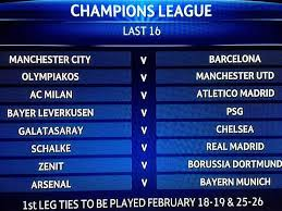 champions league last 16 pairings ucl round of 16 draw nal tackle barcelona chelsea get psg test