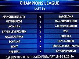 champions league last 16 pairings