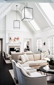 vaulted ceiling lighting modern living room lighting. MONOCHROME HOME - White Upholstery With Black Nailhead Trim, Tall Ceilings In A Double Height Living Space. Love The Large Scale Lanterns. Design By Vaulted Ceiling Lighting Modern Room