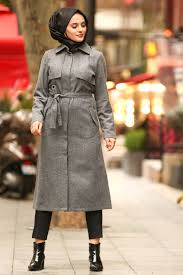 Neva Style Smoke Color Hijab Coat 2448fu Neva Style Com
