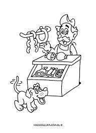 Kleurplaat Slager Worst Hond Beroepen