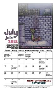 July 2018 Monthly Calendar Poster Art For Social Justice Ricardo