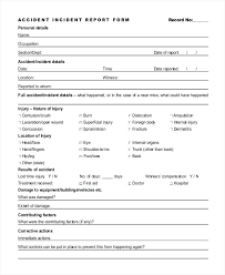 Accident Incident Report Form Template Templates Deutsch