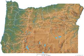 Oregon Physical Map And Oregon Topographic Map