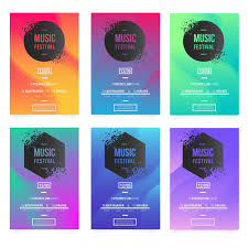 Free Music Poster Templates Modern Music Poster Templates With Broken Banners Vector