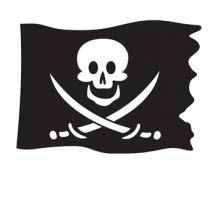 Velours Flock Applicatie Piraten Vlag