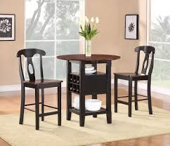 High Top Dining Table With Storage Dining Room 3 Piece Counter Height Bistro Dining Set With Black