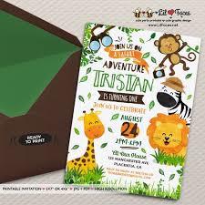 Safari Party Invitations Safari Birthday Invitation Jungle Animals Diy Printable Safari