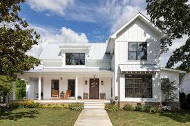 exterior home designer. example of a mid-sized country white two-story wood gable roof design in exterior home designer