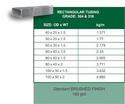 Rectangular Tube Dimensions Chart 41 Efficient Stainless Steel Tube Dimensions Chart