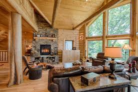 log home living rooms