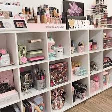 great exle on how to set up showcase a large makeup collection using cube shelving