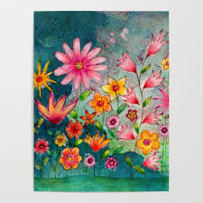 wild flowers watercolor painting whimsical art poster