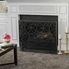 details about veritas single panel black iron fireplace screen