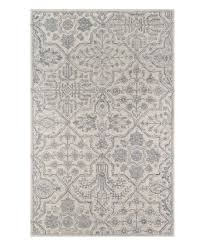 gray cream fl wool rug