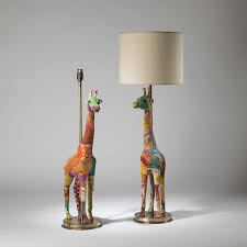 giraffe furniture. Pair Of Tall Multicoloured Patchwork Giraffe Lamps On Round Brass Bases Furniture