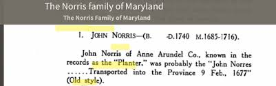"John ""the Planter"" Norris, of Anne Arundel County (1663 - 1740) - Genealogy"