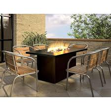 image of outdoor gas fireplace table dining