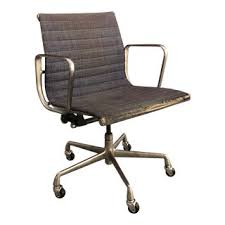 Image Brown Leather 1960s Vintage Eames Aluminum Management Chair Chairish Vintage Used Office Chairs For Sale Chairish