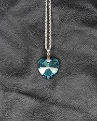 swarovski heart crystal bermuda blue chain