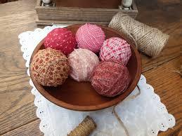Decorative Bowl Filler Balls Set of 100 Red Primitive Rag Ball Bowl Fillers Fabric Balls Bowl 82