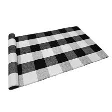 ukeler buffalo check rug black and white plaid rugs cotton hand woven checd carpet