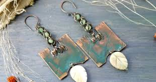 Earrings copper, metalwork, natural <b>jewelry</b>, Artisan <b>Jewelry</b>, Copper ...