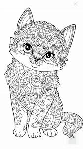 cute kitten coloring page design kids