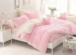 Solid Pink and Creamy White Color Block 4 Piece Fluffy Bedding Sets