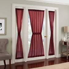 crushed voile rod pocket side light window curtain panel white wooden french door with side lights inside and decoration golden key lock sheer curtains