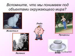 Презентация на тему Курсовая работа на тему Создание  4 Вспомните что мы понимаем под объектами окружающего мира Животные Вещи Явления Люди Процессы