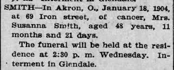 Susanna (Moore) Smith death notice 21 Jan 1904 - Newspapers.com