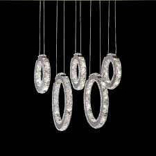 details about modern led luxury crystal chandelier lighting ceiling pendant lamp 5 rings new