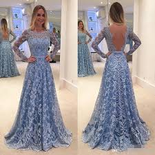 Vintage Full Lace Evening Dresses 2017 A Line Long Sleeves Sexy