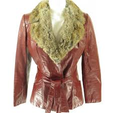 red leather 80s rabbit fur womens belted jacket