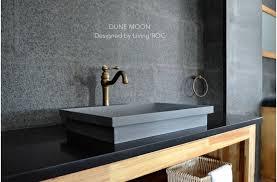 24 gray basalt stone bathroom sink concrete look dune moon