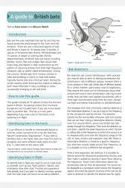 Bat Species Chart Bats Field Studies Council