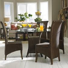 Round Glass Tables For Kitchen Round Glass Table Brown Wicker Base