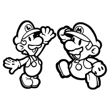 Small Picture Mario and Luigi High Five in Mario Brothers Coloring Page Color Luna